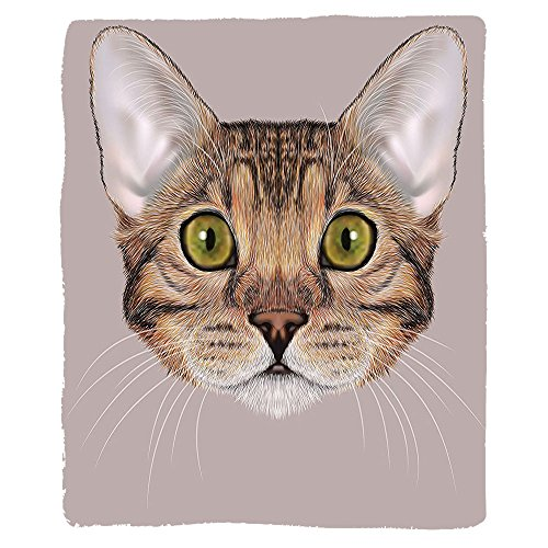 Kisscase Custom Blanket Cat Vintage Cute Bengal Kitty Portrait in Soft Tones Fluffy Icon Mascot Cute Design Bedroom Living Room Dorm Caramel Dried Rose