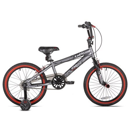 18'' Kent Abyss FS18 Boys' BMX Silver Bike with Bell Sports Cicada Sugar Storm Blue and Gray Child Helmet,