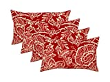 RSH Décor Set of 4 Indoor/Outdoor Lumbar Rectangular Throw Pillows (12''x21'') Red with White Floral Silhouette