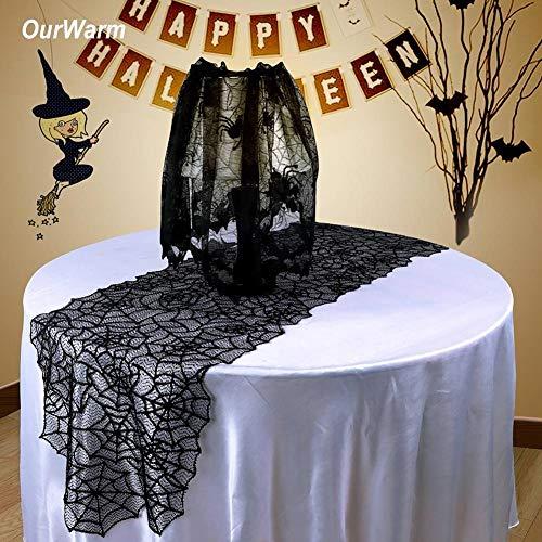 Angelsun OurWarm Halloween Table Decoration Black Lace Spider Web Table Runner Seamless One Piece Design Halloween Theme Wedding