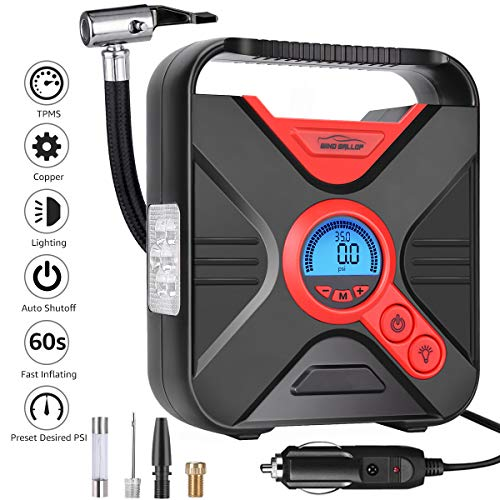 Portable Air Compressor Tire Inflator WindGallop Car Air Pump with Digital Preset Pressure Gauge Auto Shut Off DC 12V Extra Nozzle LED Light For Car Tyre Basketball Motorcycle Bicycle Pool Toys