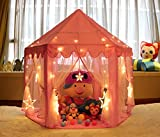Monobeach Kids Play House Princess Tent - Indoor and Outdoor Hexagon Pink Castle Play Tent for Girls with LED Light by