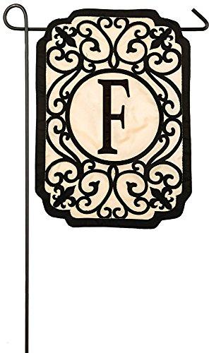 (Evergreen Filigree Monogram F Applique Garden Flag, 12.5 x 18)