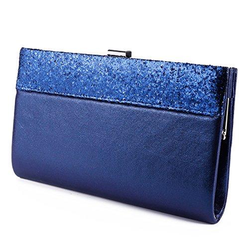 Anladia Womens Glitter Shiny Bling Wedding Bridal Prom Evening Bag Envelope Clutch Bag Handbag Purse Navy Blue