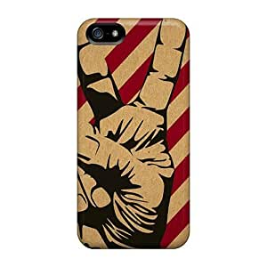 New Fashionable E-Lineage Cover Case Specially Made For Iphone 5/5s(peace Hand)