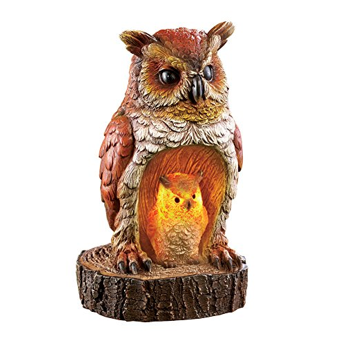 Animal Sculptures Collection - Collections Etc Mother And Baby Owl Solar Lighted Garden Sculpture Figurine