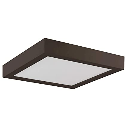 Sunlite 81280 Su Led 9 Square Surface Mount Ceiling Light Fixture 20 Watts Dimmable 1200 Lumen Bronze Finish Indoor Outdoor Energy Star