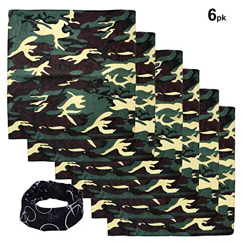 Camouflage Scarf - Basico Bandanas Value Pack 100% Cotton Paisley Head Wrap with Tube Face Mask/Headband (6pk- Camouflage)