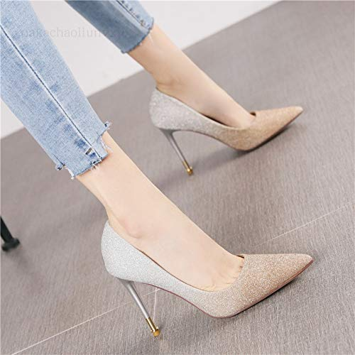 Scarpe Gold Crystal Femminile Gradient Heels Stiletto Autunno Singole Tacchi Yukun Pointed Shoes Fashion alti Color Wild TSgnqwZU