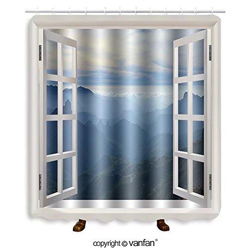 Vanfan designed Windows 258518771 Gran Canaria, Caldera de Tejeda, mist is settling Shower Curtains,Waterproof Mildew-Resistant Fabric Shower Curtain For Bathroom Decoration Decor With Shower (Gran Canaria Three Light)