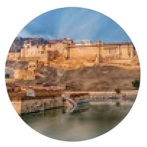alfombrilla de ratón Vista del fuerte Amber, Jaipur, India - ronda - 20cm