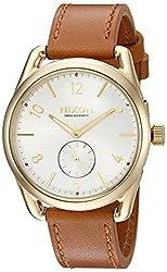 Nixon Men's A4592227-00 C39 Leather Analog Display Quartz Brown Watch
