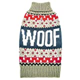 azuza Dog Sweater Turtle Dog Knit Pullover Back Length 14'' Fall Winter Warm for Small Dogs