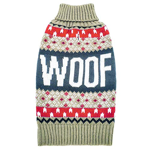 azuza Dog Sweater Turtle Dog Knit Pullover Back Length 14'' Fall Winter Warm for Small Dogs by azuza