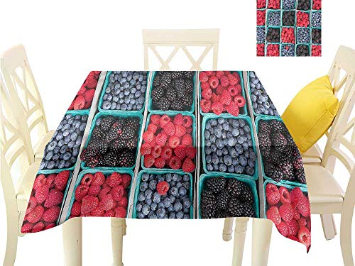 (WilliamsDecor Kitchen Table Cover Fruits,Raspberries Grocery Basket BBQ Tablecloth W 54