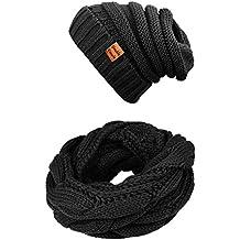 Winter Scarfs Knit Infinity Scarf Women & Men Circle Loop Scarves Hat Set