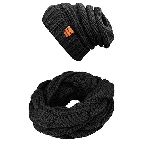 Winter Scarfs Twist Infinity Scarf for Women Men Circle Loop Scarves Hat Set