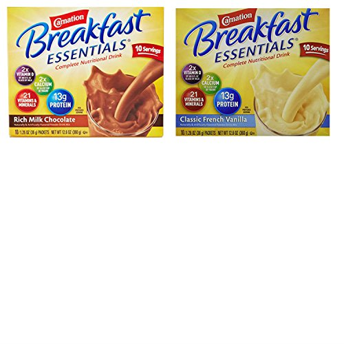 Carnation Breakfast Essentials Powder Twin Pack. Rich Milk Chocolate and Classic French Vanilla Packets Together in One Package. Convenient One Stop Shopping. High in Protein and Essential Nutrients!