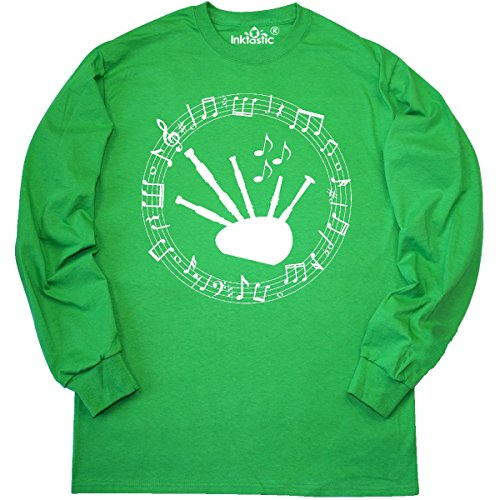 Inktastic - Bagpipes Music Notes Musical Long Sleeve T-Shirt Medium Kelly Green