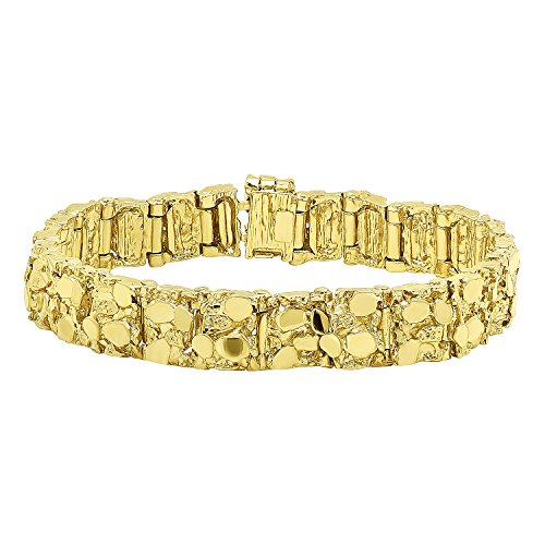 Thick 12.5mm 14k Gold Plated Chunky Nugget Textured Link Bracelet, 9