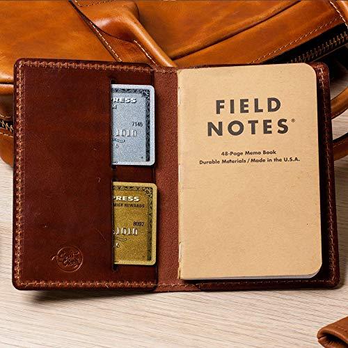 Field Notes Cover - Full Grain Wickett & Craig Leather/Moleskine Wallet/Minimalist/Harness Med Brown