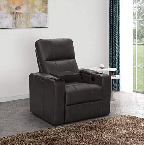 Abbyson Living Faux Leather Upholstered Power Recliner with Side Table Theater Armchair, Brown