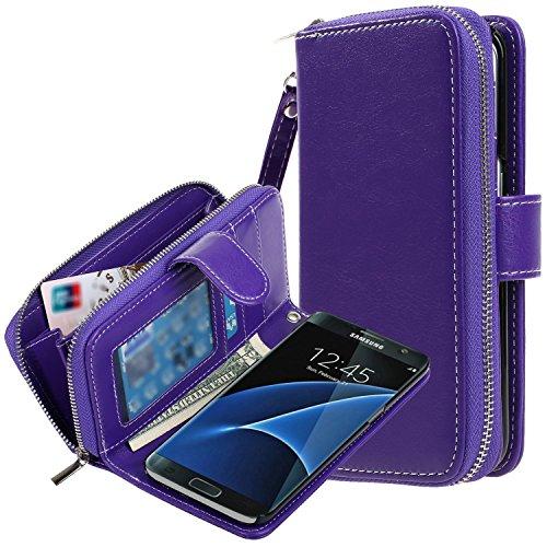 Galaxy S7 Edge Case, E LV Galaxy S7 Edge - 2IN1 ( CASE CUM PURSE) PU Leather flip Wallet Bag Pouch Case Cover For Samsung Galaxy S7 Edge - [PURPLE]