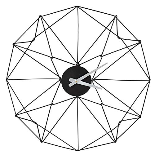 Clock Geometric - Kate and Laurel Mendel Numberless Geometric Shape Metal Wall Clock, Black with Black Hands