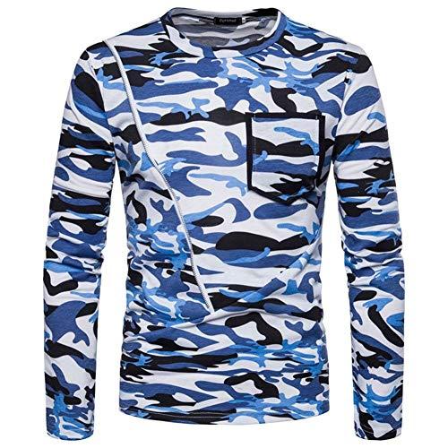 Camiseta Los Hombres Con Cuello Manga Camuflaje Larga Capuchas De Blau Cómodo x4wrx