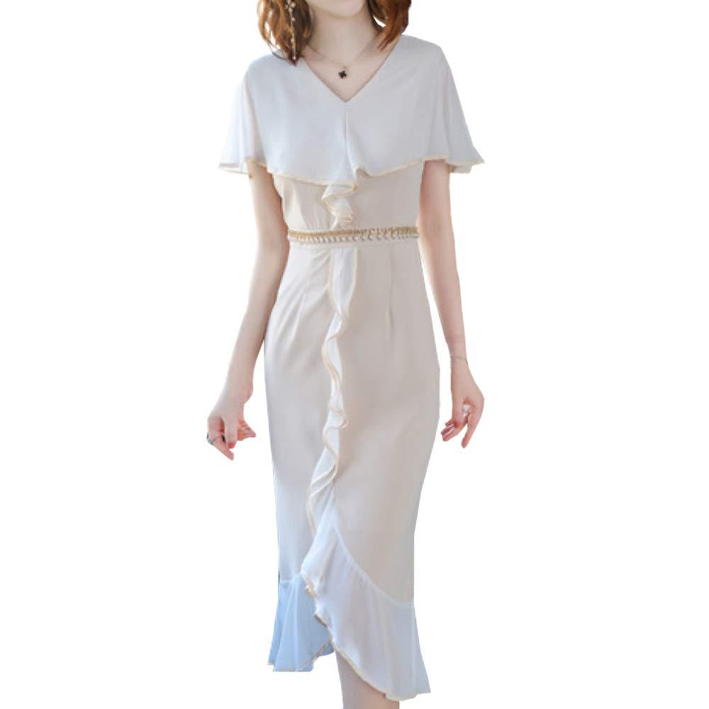 ZENWEN Women's VNeck Solid color Dress Elegant Temperament Ladies Slim Long Dress