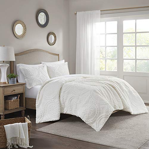 Madison Park Arya Medallion Pattern Ultra Soft Luxury Premium Plush Comforter Mini Bedding Set, King, Ivory