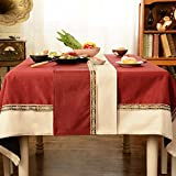 Two - Color Table Flag Cloth Imitation Ma Stitching Table Flag Tea Table Cloth Tv Cabinet Cover Towel Bed Towel Bed Flag,Wine Red Fight Rice White,30Cm×210Cm