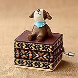 MUBODH Home Decor Cute Mini Animal Wooden Hand Cranked Music Boxes Creative Unique Artware Gift Wooden Music Box Blue