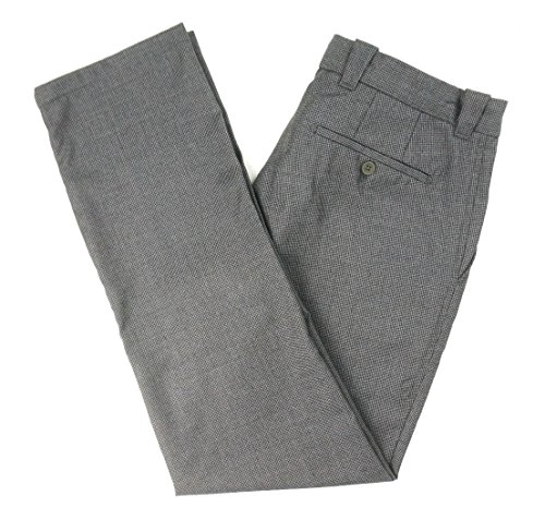 Bloomingdale's New $135 Mens 100% Wool Gray Houndstooth Dress Pants Size 34X32