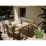 CHECO HOME AND GARDEN CORTINA GARDEN FURNITURE SET, HIGH QUALITY WOOD, DURABLE AND ELEGANT - 1 x TABLE, 1 x BENCH, 3 x CHAIR