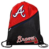MLB Atlanta Braveshigh End Diagonal Zipper Drawstring Backpack, Atlanta Braves, One Size