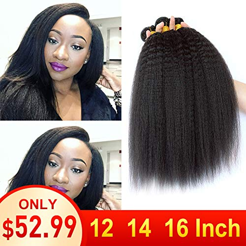 9A Grade Kinky Straight 3 Bundles 12 14 16 Inch Total 300 Grams Brazilian Yaki Human Hair Unprocessed Virgin Yaki Straight Hair No Tangle No Shedding from LOVEHAIR