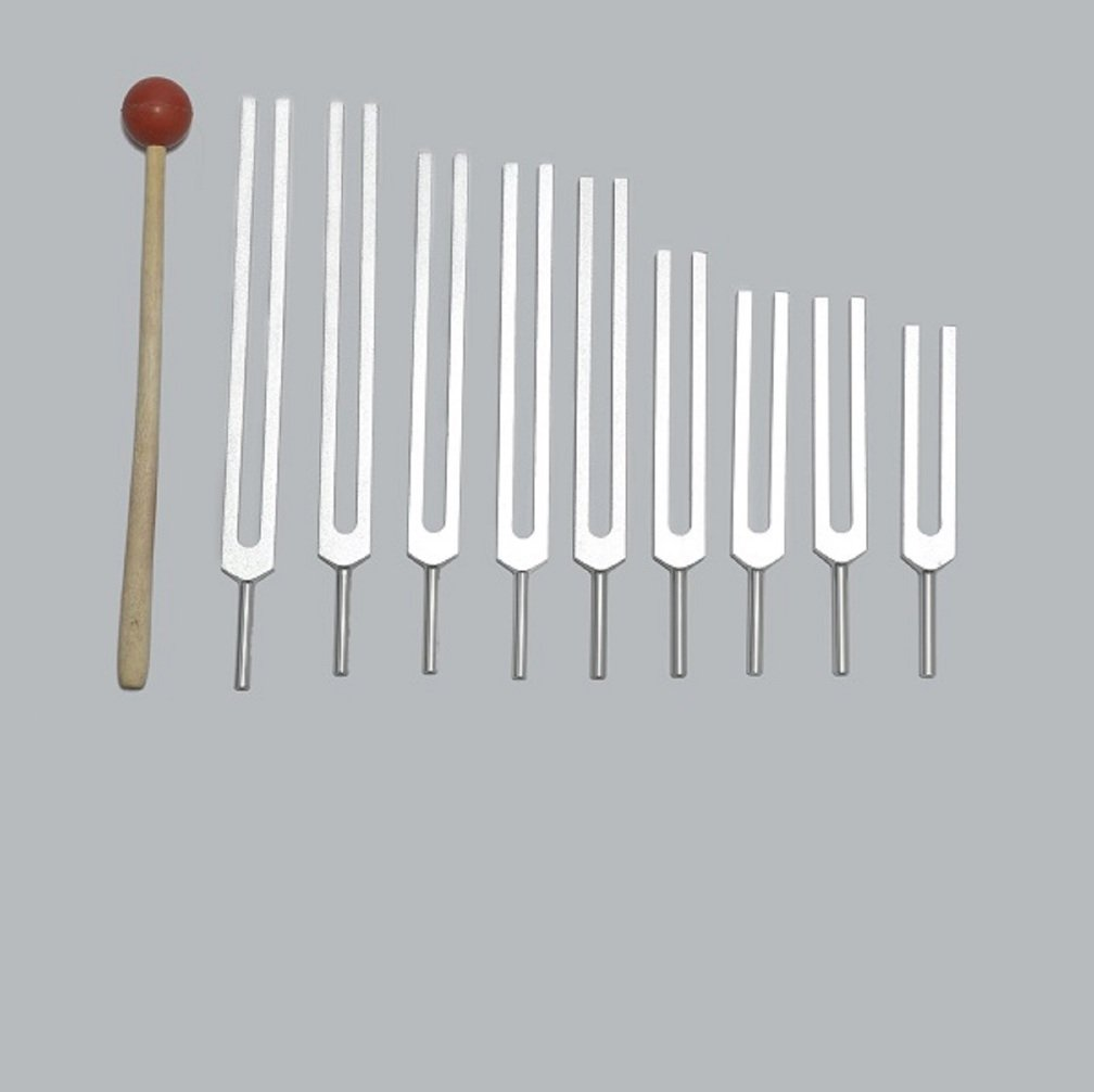 9 Solfeggio Tuning Fork Set for Healing with Pouch+mallet+free Shipping