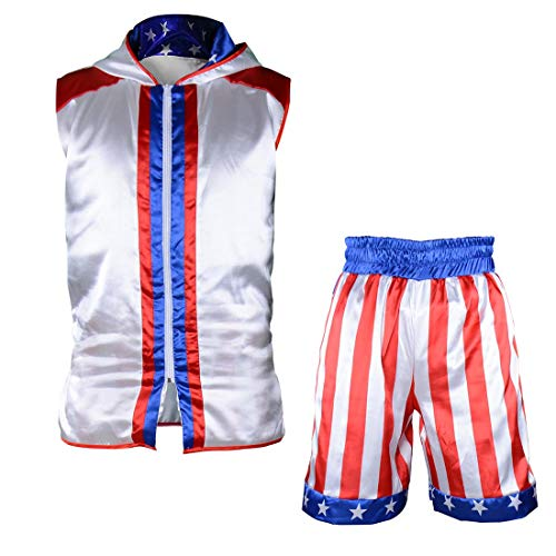 Short Tracksuit with Hood Sleeveless Boxing Ring Jacket Trunks Outfit Fight Wear Sport Suit (Hoodie + Shorts, Adult-S) (Boxing Tracksuit)