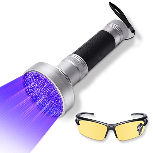 UV Flashlight Blacklight by WOLFWILL 100 LED Ultraviolet Black light Torch Pet Urine Stain Detector with UV Glasses for Scorpion, Bed Bugs, Car Freon - Pair With Glasses Of A Handle