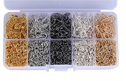 - 1Box Iron Jewellery Making Findings DIY Craft Package Material 5 Colors Open Jump Rings 5 Colors Earring Hooks Fish Hooks Earring Ball Wire for Hand Chain Handmade Necklace Beaded