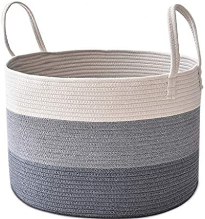 COMEMORY Large Cotton Rope Basket 20 x 14 Laundry Blanket Storage Basket with Built-in Sturdy Handles Baby Nursery Bin for Home D/écor and Organizing