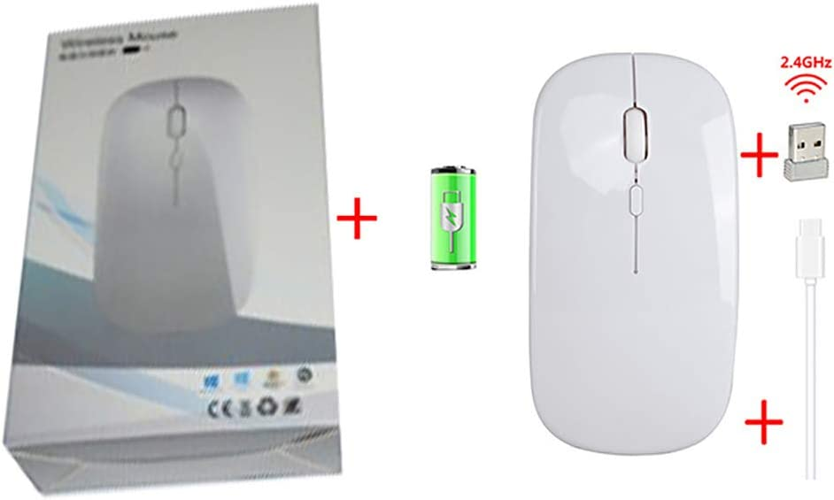 Hongqiang 2.4G Wireless Mouse, Rechargeable 4-Button 3 Speed DPI Adjustable Slim Mouse for Laptop Mouse for Home/Office,White