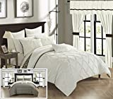 Chic Home Jacksonville 20 Piece Reversible Comforter Complete Bed in a Bag Pinch Pleated Ruffled Chevron Pattern Bedding Set - Sheets Decorative Pillows Shams Window Treatments Included, King Beige