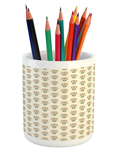 Sunflower Pencil Pen Holder by Lunarable, Agriculture Pattern with Blooming Bud Petals Ornate Swirls and Curves, Printed Ceramic Pencil Pen Holder for Desk Office Accessory, Fern Green Beige (Fern Swirl)