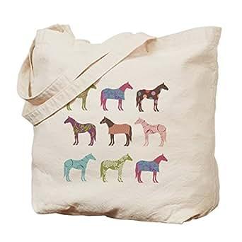 CafePress - Colorful Horse Pattern - Natural Canvas Tote Bag, Cloth Shopping Bag