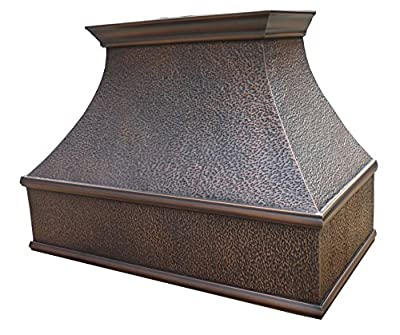 Copper Range Hood with Liner Copper Best H7 302130H Antique Copper Finish with Unique Hammering 30 inch Width