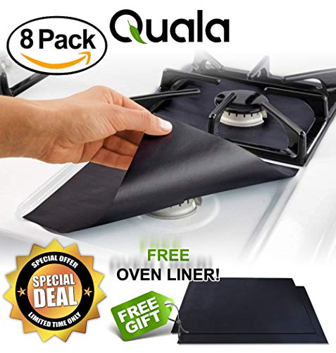 QUALA Gas Range Protectors 8 Pack + FREE OVEN LINER ! - Stove Protector, Burner Cover, Cook Top Hob Liners .2MM THICK Heavy Duty Reusable Easy Clean Non Stick (10.5 - Burners Black Oven