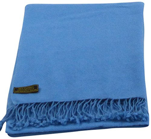 Denim Blue High Grade 100% Cashmere Shawl Scarf Wrap Hand Made from Nepal NEW