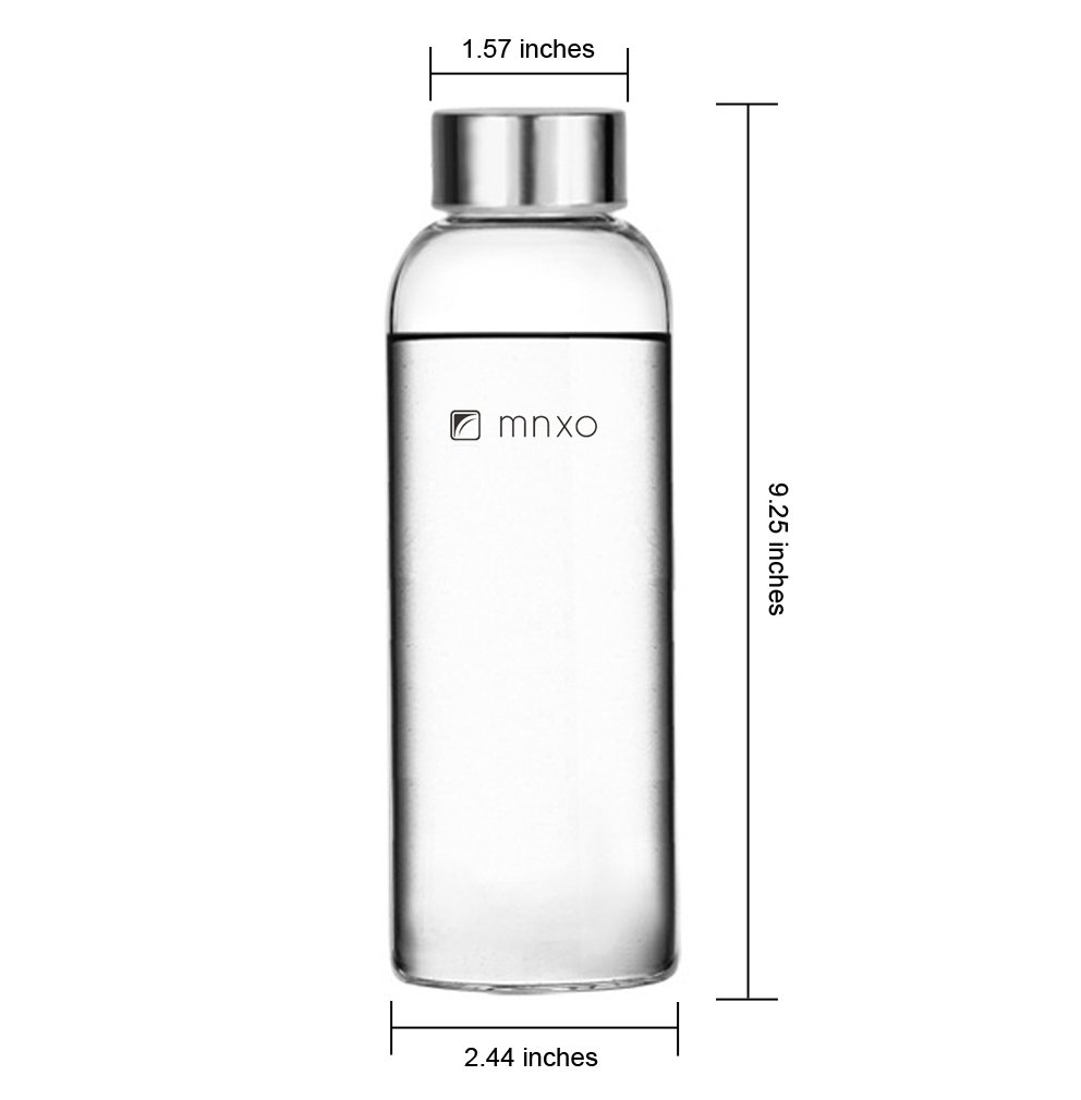 743d063485 Amazon.com: Mnxo® Ultra Clear Borosilicate Glass Water Bottle for Office &  Car & Bicycle & Travel 18 Oz with Sleeve (Black): Health & Personal Care